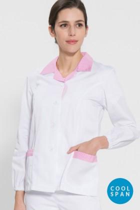 긴팔 TC45수 쿨스판 위생복 셔츠(여성용) /핑크체크(FS-120)
