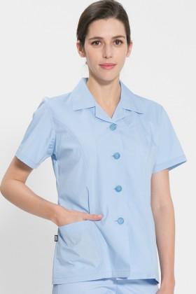반팔 TC45수 스판덱스 위생복 셔츠(여성용) /스카이블루(FS-114)
