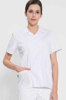 반팔 TC45수 스판덱스 위생복 셔츠(여성용) /화이트(FS-110)