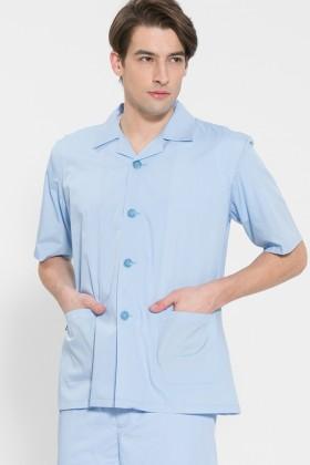 반팔 TC45수 스판덱스 위생복 셔츠(남성용) /스카이블루(FS-112)